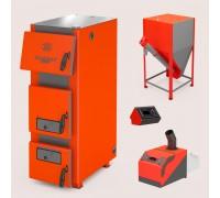 Комплект: отопительный котел Теплодар Куппер ПРО 42 (2.0) + горелка пеллетная Комфорт 42 + бункер напольный