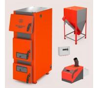 Комплект: отопительный котел Теплодар Куппер ПРО 42 (2.0) + горелка пеллетная Норма 42 + бункер напольный
