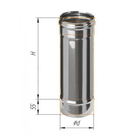 Дымоход L=0,5м (439/0,8 мм) Ф 100