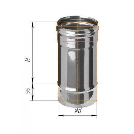Дымоход L=0,25м (439/0,8 мм) Ф 120