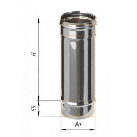 Дымоход L=0,5м (439/0,8 мм) Ф 125 (Н)
