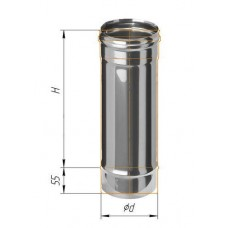 Дымоход L=0,5м (430/0,8 мм) Ø 130