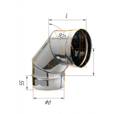 Колено (430/0,8 мм) угол 90° Ø 135 (Н)