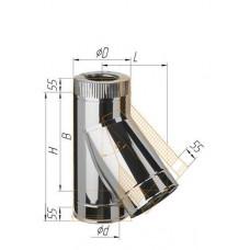 Сэндвич-тройник 135° (430/0,8мм + нерж.) Ø 150х250 К