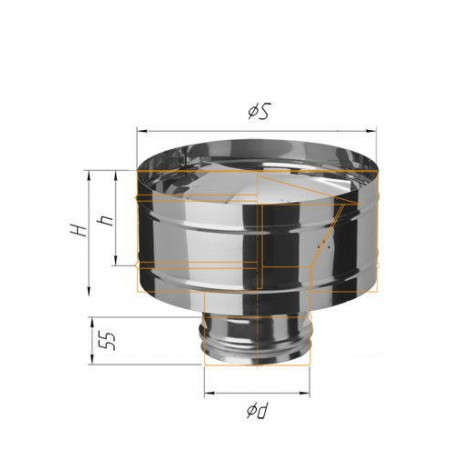 Зонт-К с ветрозащитой (430/0,5 мм) Ø 180