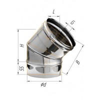 Колено (439/0,8 мм) угол 135° Ф 180