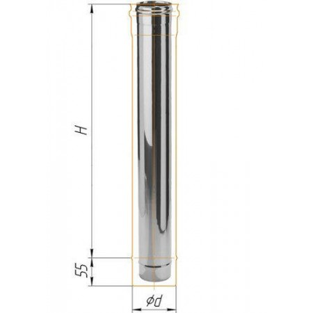Дымоход L=1м (439/0,8 мм) Ф 250