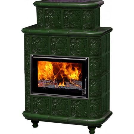 Печь-камин «Эльзас» барокко зеленая
