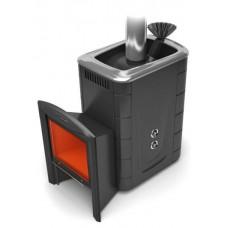 Дровяная банная печь Гейзер 2014 Carbon Витра ЗК ТО антрацит